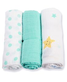 Lulujo Baby Dreamland Organic Cotton Mini Muslin Cloths Pack Of 3 - Sea Green White