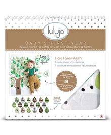 Lulujo Baby Muslin Milestone Blanket & Cards Set I Grow Again Print - Green