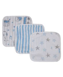 Abracadabra Muslin Face Napkins Blue & White - Pack of 3