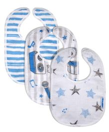 Abracadabra Muslin Bibs Blue & White - Set of 3