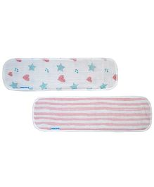Abracadabra Muslin Burp Pad Set of 2 Star & Heart Print - Pink Blue