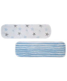 Abracadabra Muslin Burp Pad Set of 2 Stars & Stripes Print - Blue White