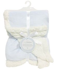 Piccolo Bambino Reversible Chamois Blanket- Cream & Blue