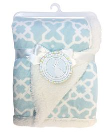 Honey Bunny Reversible Printed Chamois Blanket - Blue