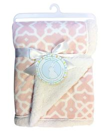 Honey Bunny Reversible Printed Chamois Blanket - Pink