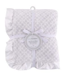 Piccolo Bambino Luxury Blanket With Satin Frill - Grey