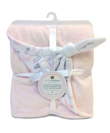 Piccolo Bambino Knotted Reversible Chamois Blanket- Light Pink