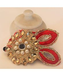 Many Frocks & Floral Mirror & Bead Embelished Clip - Red