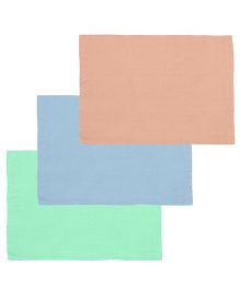 Lula Reusable Muslin Square Nappies Pack of 3 - Peach Blue Green