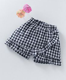 Spring Bunny Checks Print Frill Skirt - Navy