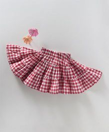 Spring Bunny Checks Print Frill Skirt - Red