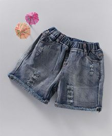 Spring Bunny Denim Rugged Shorts - Blue