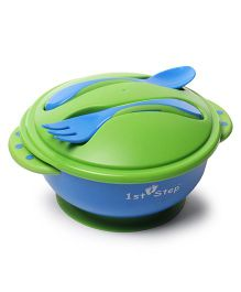 1st Step BPA Free Microwave Friendly Feeding Bowl With Fork And Spoon - Green Blue