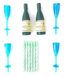 Funcart Champagne Bottle & Glass With Colourful Stripe Candle Pack of 10 - Multi Colour