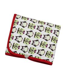 Kadam Baby Diaper Mat With Pocket Owl Print - Red