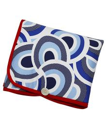 Kadam Baby Diaper Mat With Pocket Swirl Print - Red Blue