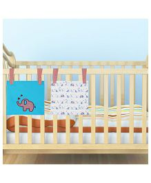 Kadam Baby 2 Bed Pockets Elephant Print - Blue & White