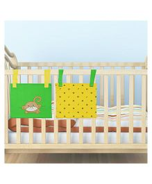 Kadam Baby 2 Bed Pockets Monkey Embroidery - Yellow Green