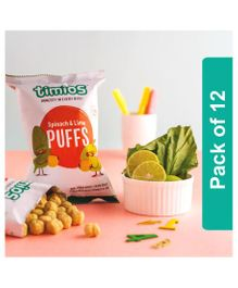 Timios Spinach & Lime Puffs Kids Snacks - Pack of 12