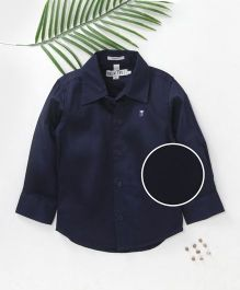 Palm Tee Full Sleeves Solid Color Party Shirt - Navy