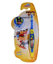Adore Mighty Raju Kids Toothbrush With Cap And Tongue Cleaner (Color May Vary)