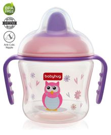 Babyhug Hard Spout Non Spill Sipper Cup With Handle Pink Purple - 150 ml