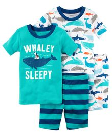 Carter's 4-Piece Whale Snug Fit Cotton Night Suit - Blue