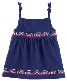 Carter's Embroidered Tie-Shoulder Tank Top - Navy Blue