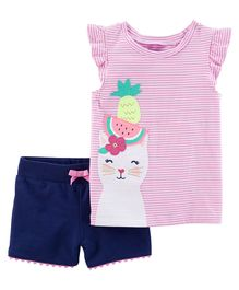 e850bb235 Carter's 2 Piece Kitty Flutter-Sleeve Top & French Terry Short Set - Pink  Navy
