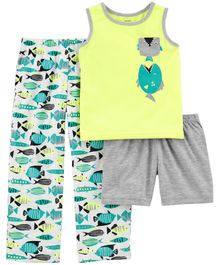 Carter's 3-Piece Night Suit Neon Fish Jersey PJs - Yellow