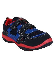 Myau Printed Solid Velcro Closure Casual Shoes-Blue Red