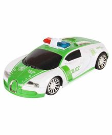 Planet of Toys Remote Control Mini Bugatti Police Racing Car - White & Green