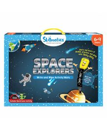 Skillmatics Space Explorers Write & Wipe Activity Mats - Blue