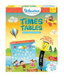 Skillmatics Times Tables Write & Wipe Activity Mats - Multi Color