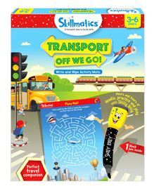 Skillmatics Transport Off We Go Write & Wipe Activity Mats - Multi Color