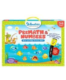Skillmatics PreMath & Numbers Write & Wipe Activity Mats - Blue