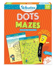 Skillmatics Dots And Mazes Write & Wipe Activity Mats - Orange