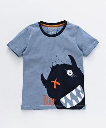 Lazy Shark Monster Printed Half Sleeve T-Shirt - Blue