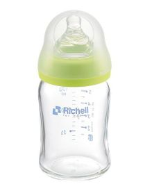 Richell Wide Neck Glass Feeding Bottle Green - 150 ml