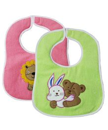 My NewBorn Bibs Animal Embroidered Design Pack of 2 - Green & Pink