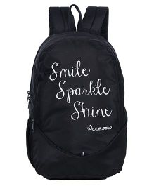 Polestar School Bag Smile Print Black - 18 Inches