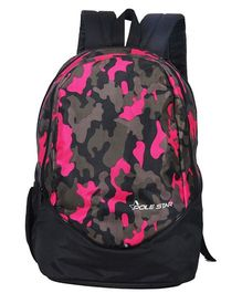 Polestar School Bag Camouflage Print Black Pink - 18 Inches