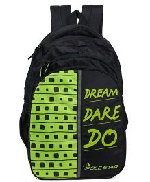 Polestar School Bag Text Print Green Black - 18 Inches