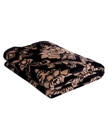 A Homes Grace Floral Single Bed Flannel Blanket - Black