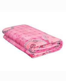 A Homes Grace Single Bed Printed Flannel Blanket - Pink