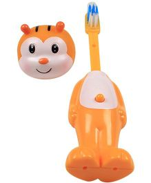 Ole Baby Push Button Tooth Brush Cum Toy Tiger Face - Orange