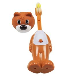 Ole Baby Push Button Tooth Brush Cum Toy Puppy Face - Brown