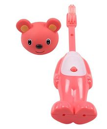 Ole Baby Push Button Tooth Brush Cum Toy Mouse Face - Pink