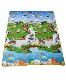 Ole Baby Waterproof Double Side Mat Printed - Blue (Color & Design May Vary)