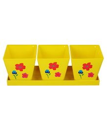 Wonderland Garden Square Herb Planter With Tray - Yellow